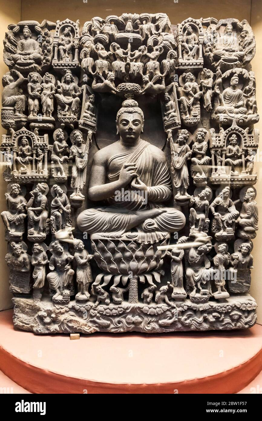 Relief Of Gandhara Buddha Stone Carving Lahore Museum British Colonial Period Lahore Punjab Province Pakistan South Asia Asia Stock Photo Alamy