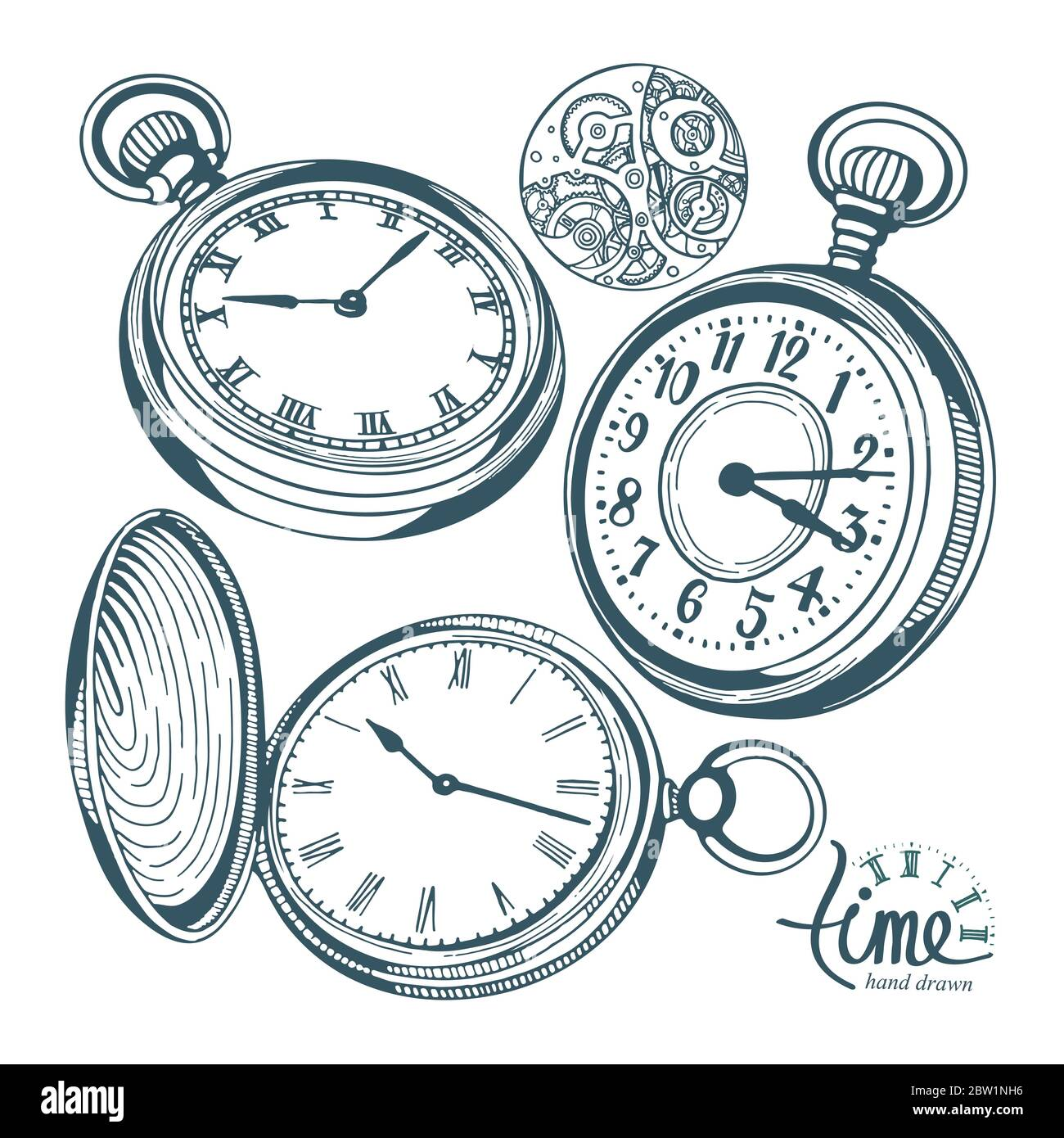 Pocket Watch Hand Drawn Pocket Watch Vector Illustrations Set Sketch Drawing Old Clock Icons Set Stock Vector Image Art Alamy A pocket watch (or pocketwatch) is a watch that is made to be carried in a pocket, as opposed to a wristwatch, which is strapped to the wrist. https www alamy com pocket watch hand drawn pocket watch vector illustrations set sketch drawing old clock icons set image359612658 html