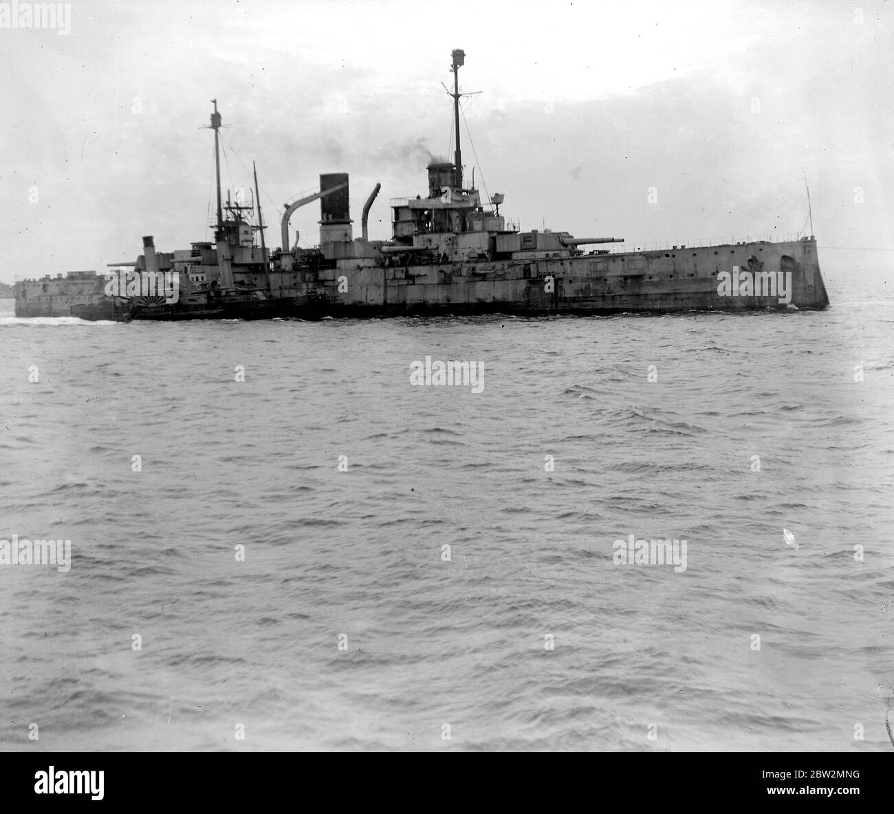 Surrender of German Warships in Firth of Forth. One of the surrendered warships. 14th May 1920 Stock Photo