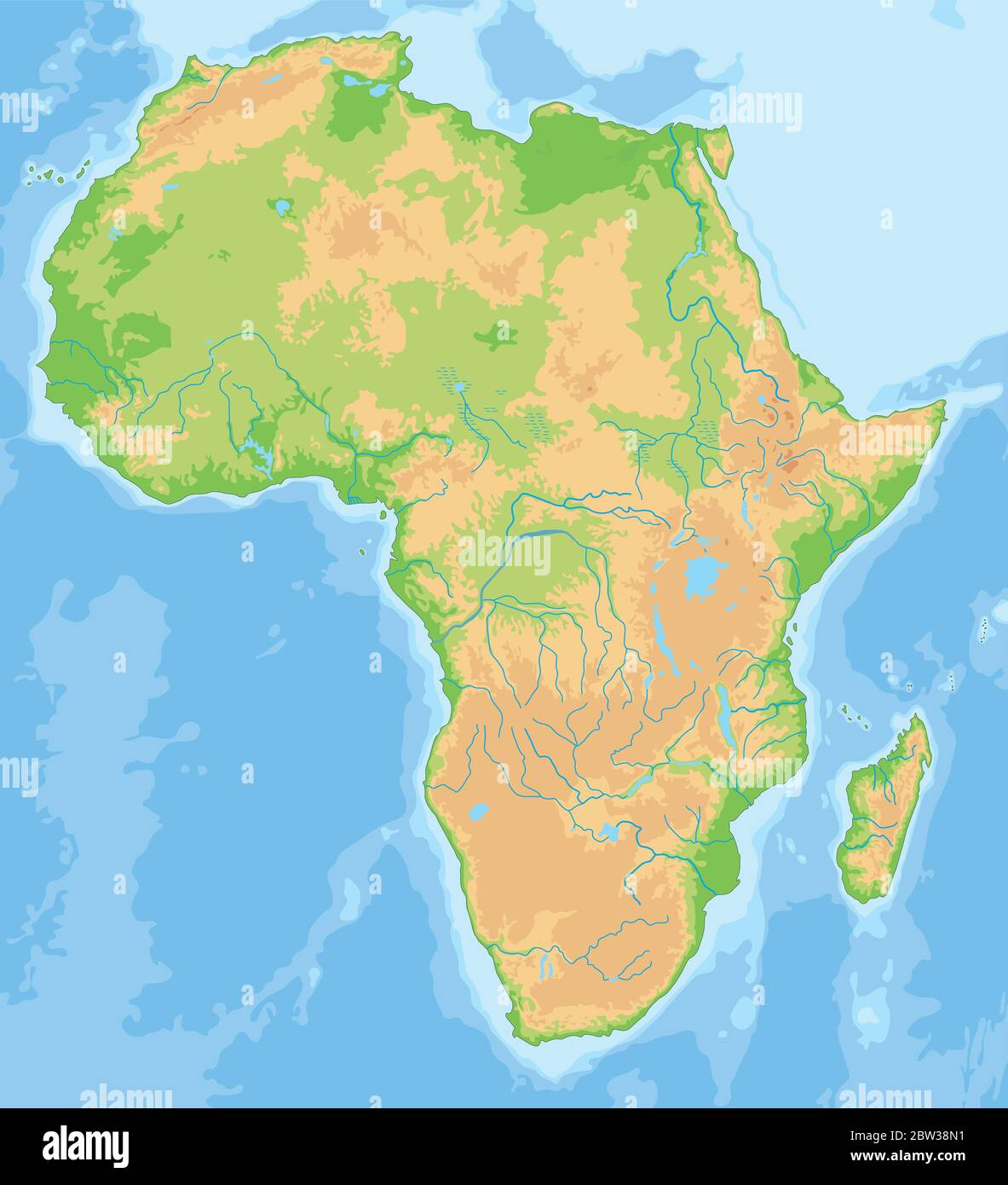 Cartina Africa In Italiano.High Detailed Africa Physical Map Stock Vector Image Art Alamy