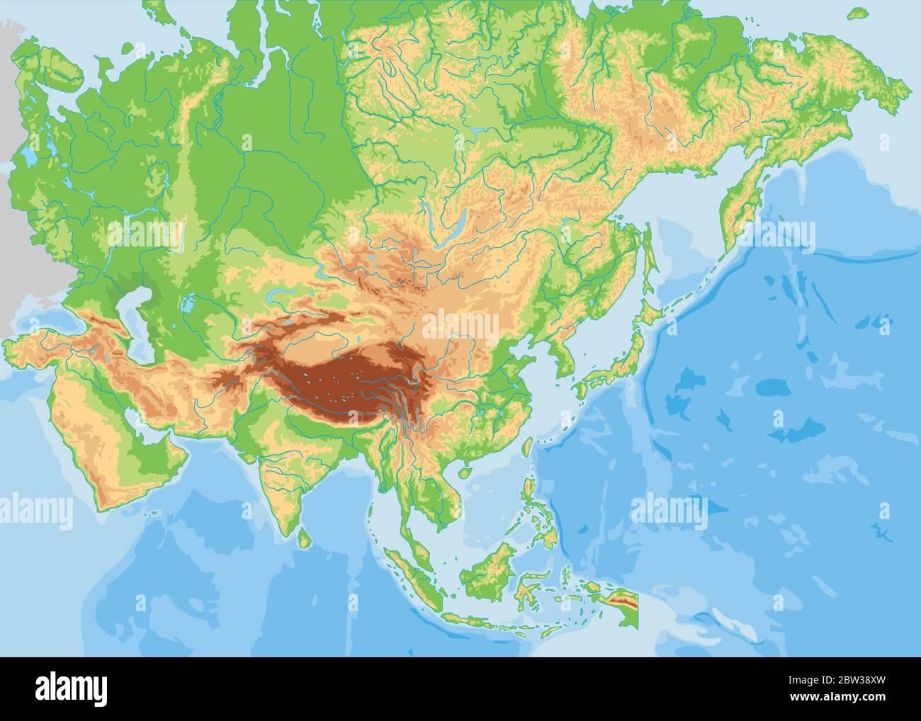 Cartina Asia Fisica.High Detailed Asia Physical Map Stock Vector Image Art Alamy
