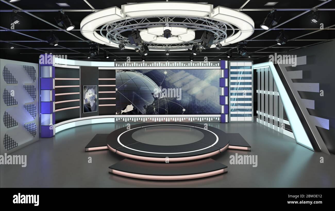 Virtual Tv Studio News Set 6 3d Rendering This Background Was Created In High Resolution With 3ds Max Vray Software You Can Use It In Your Virtual Stock Photo Alamy