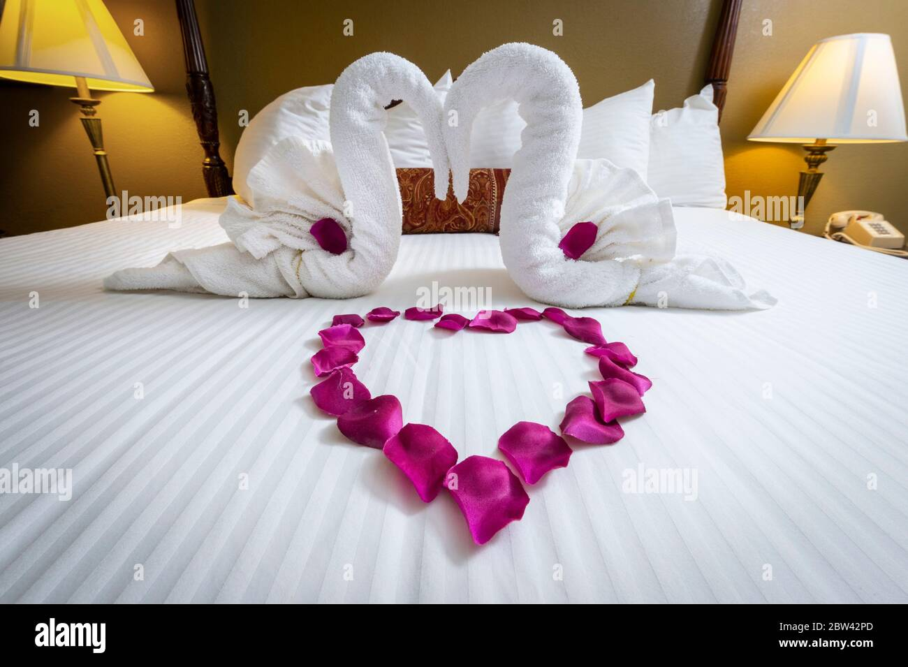Swan Towel Decorations And Heart Shaped Rose Petals On Bed In Honeymoon Suite Hotel Room Bed Stock Photo Alamy