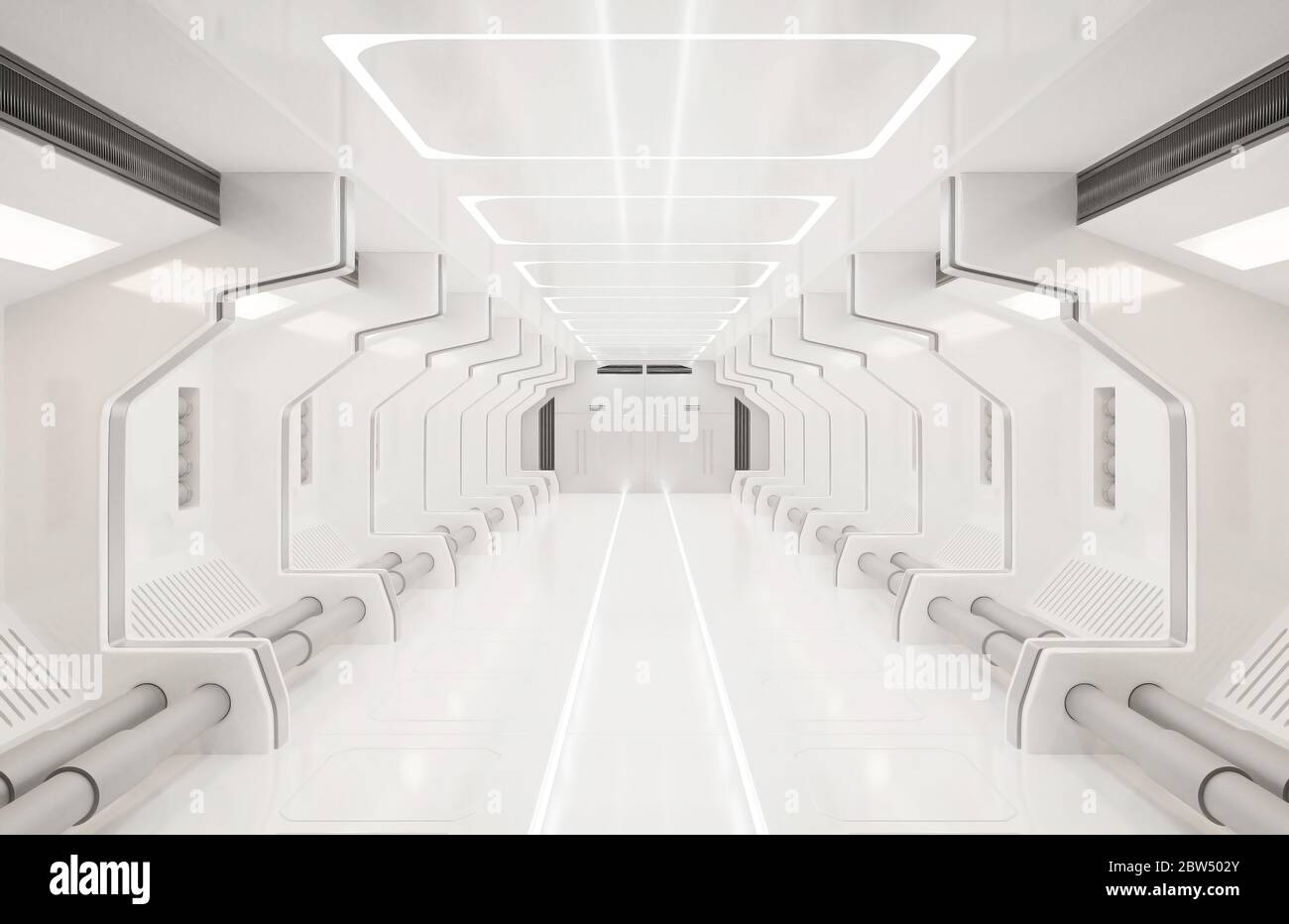 3D rendering elements of this image furnished ,Spaceship white interior ,tunnel,corridor,hallway Stock Photo
