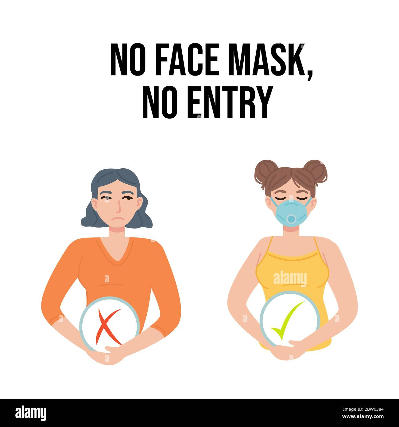 No Face Mask No Entry Banner Clipart Girl With Mask Check Mark And Cross Quarantine Covid 19 Health Pandemic Safety Store Sign Concept Can Be Stock Vector Image Art Alamy