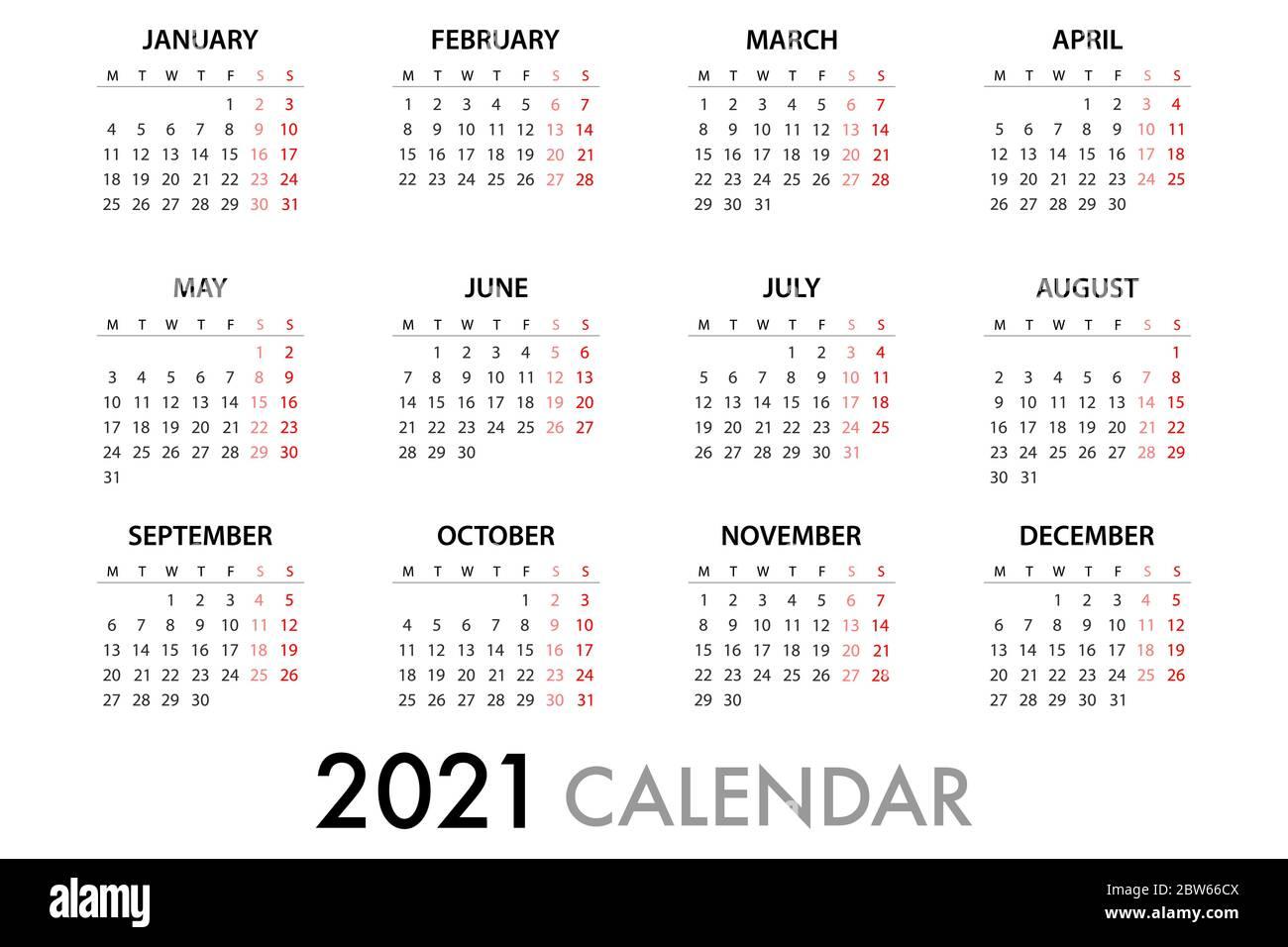 2021 Calendar Starting Monday Calendar planner for 2021 Week Starts Monday. Simple Vector