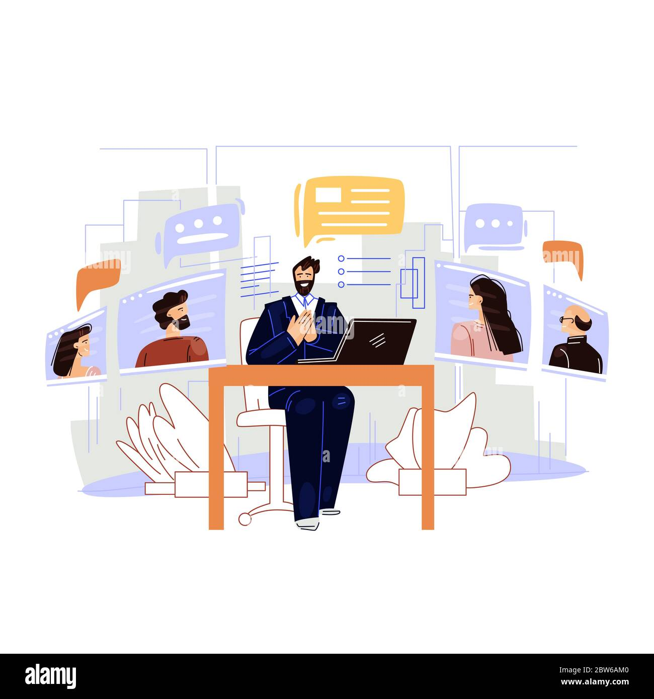 Business video conference vector flat illustration. Man businessman character sitting in office, making work online remote meeting with Colleagues Stock Vector