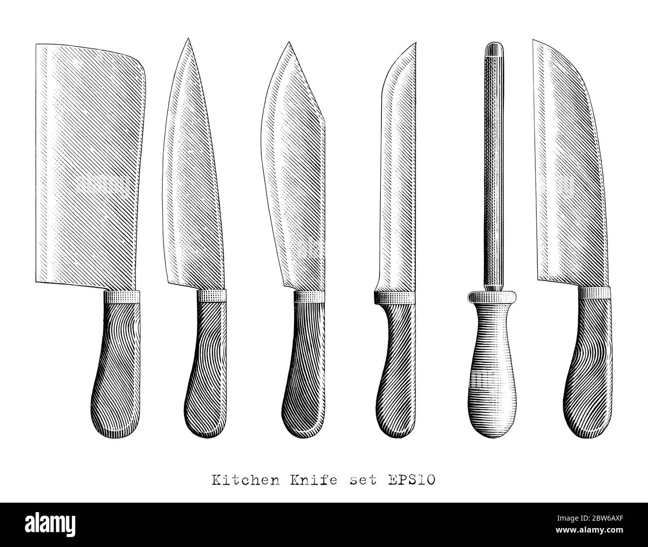 Kitchen Knife illustration hand draw vintage engraving style black and white clip art isolated on white background Stock Vector