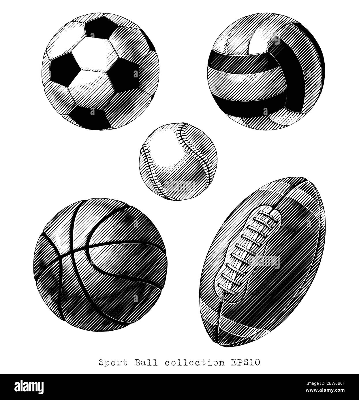 Sport Ball collection hand draw vinatge style black and white clip art isolated on white background Stock Vector