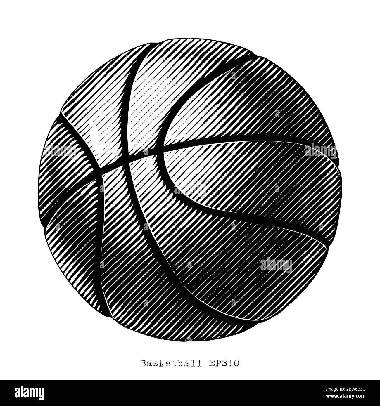 Basketball hand draw vinatge style black and white clip art isolated on white background Stock Vector