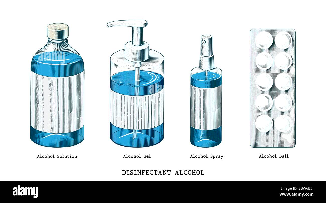 Disinfectant alcohol set hand draw vintage style clip art isolated on white background Stock Vector