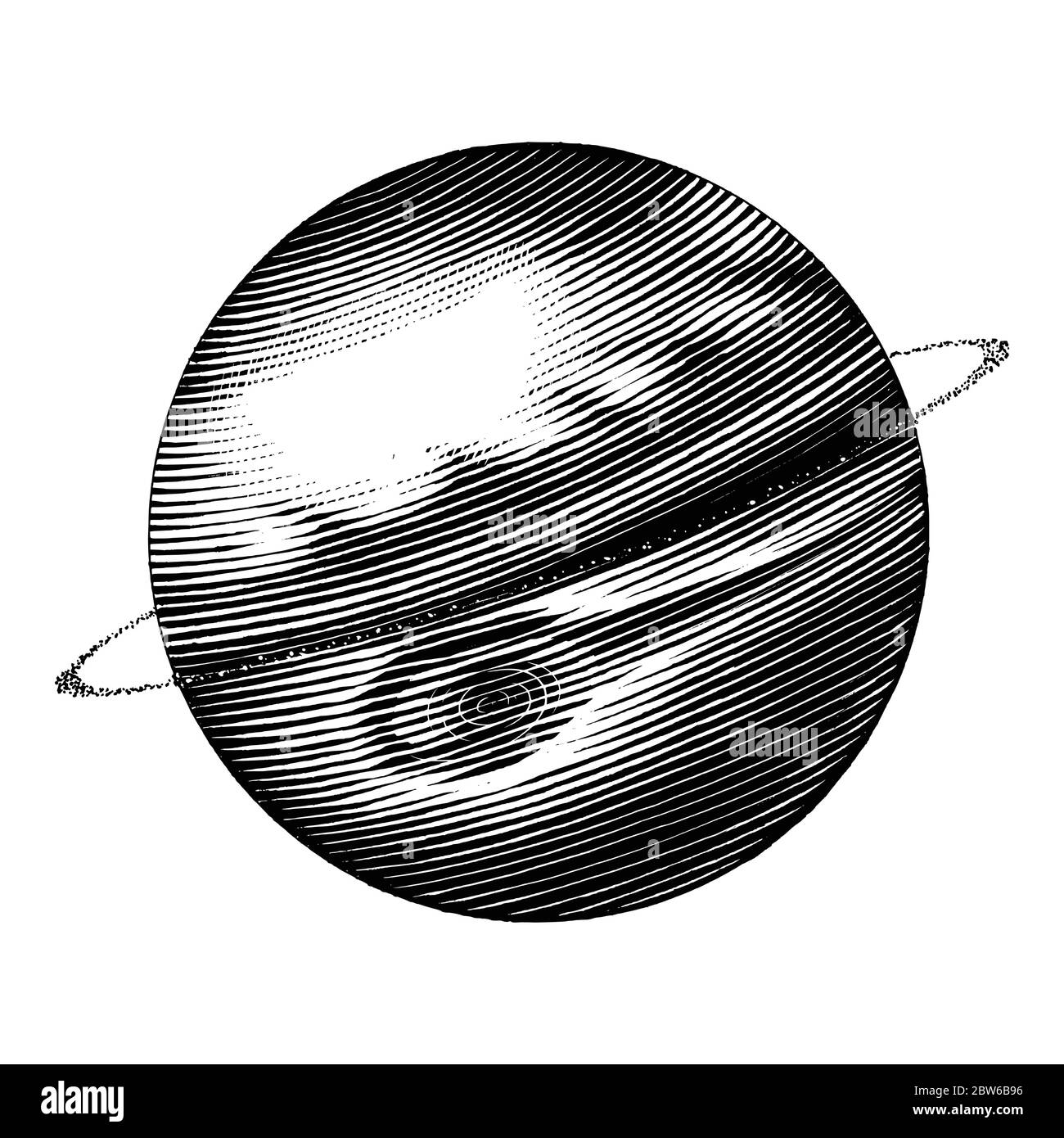 Jupiter hand drawing vintage style black and white clipart isolated on white background. The fifth planet from the Sun Stock Vector