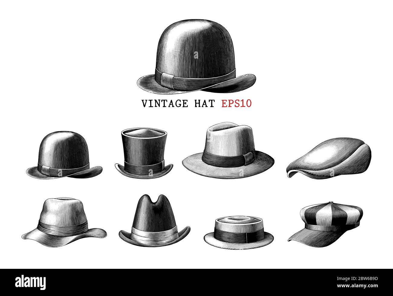 Vintage hat collection  hand draw engraving style black and white clipart isolated on white background Stock Vector