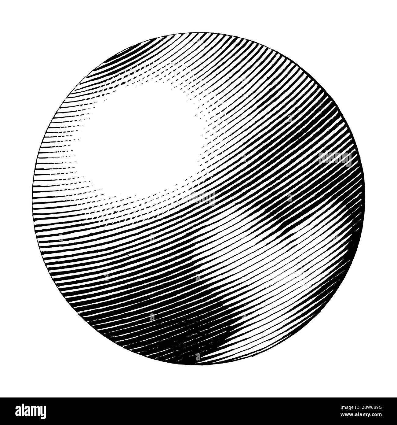 Pluto hand drawing vintage style black and white clipart isolated on white background. The planet in solar system Stock Vector