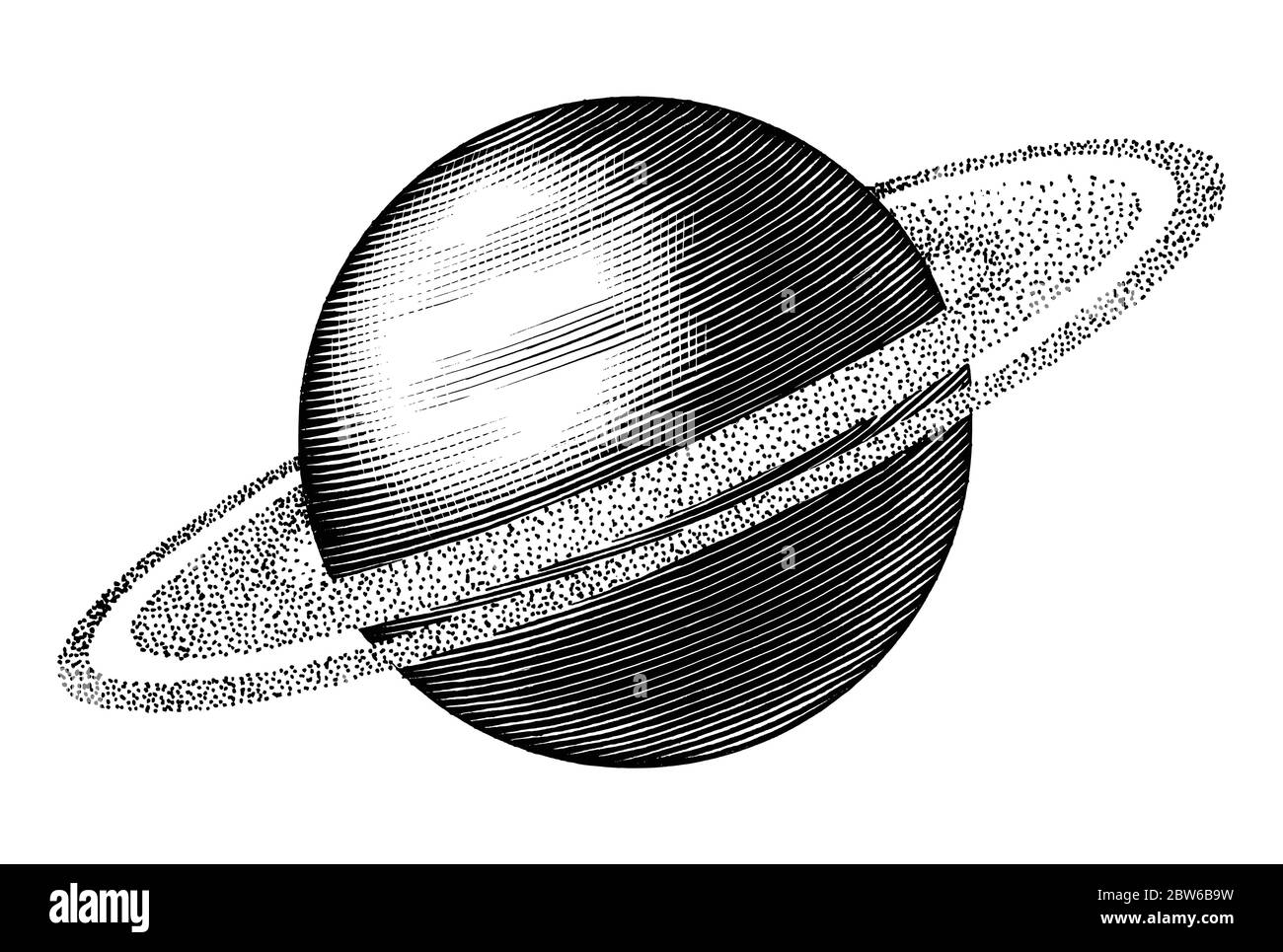 Saturn hand drawing vintage style black and white clipart isolated on white background. The sixth planet from the Sun Stock Vector