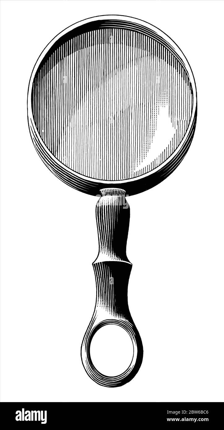 Vintage magnifier hand drawing engraving illustration black and white clip art isolated on white background Stock Vector