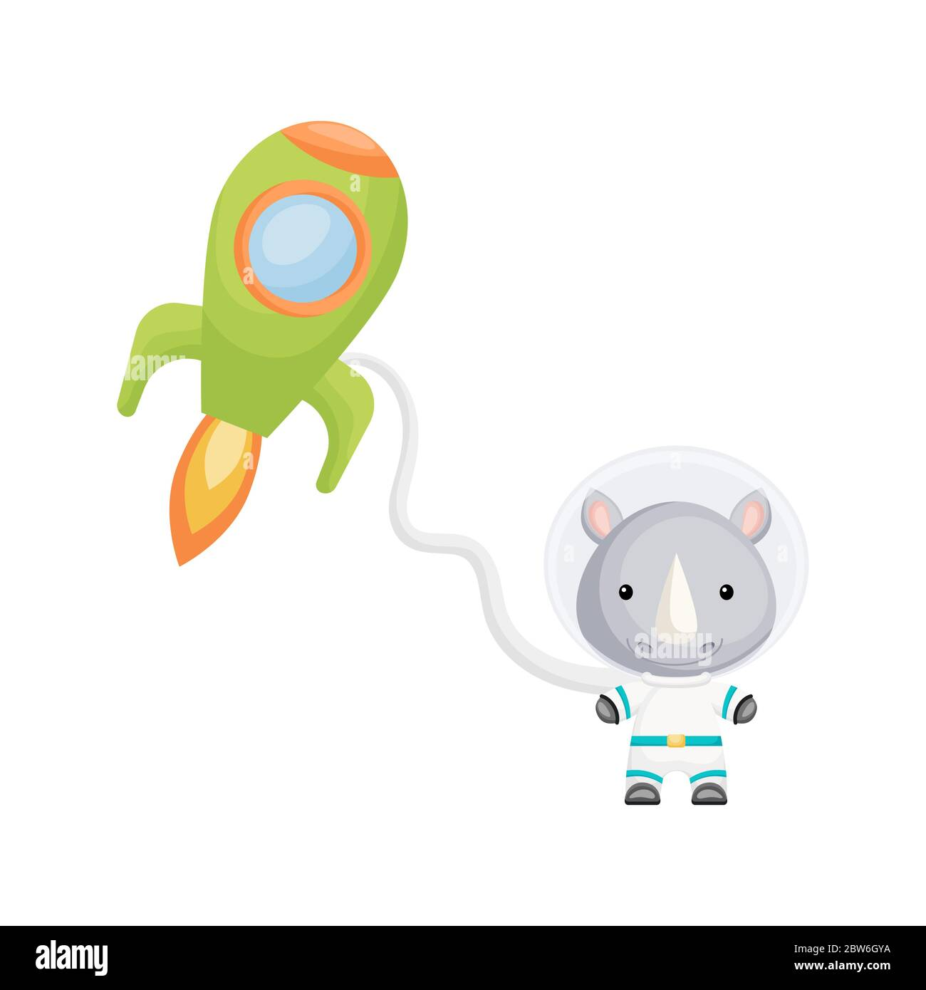 Cute little rhino astronauts flying in open space. Graphic element for childrens book, album, scrapbook, postcard, invitation. Stock Vector