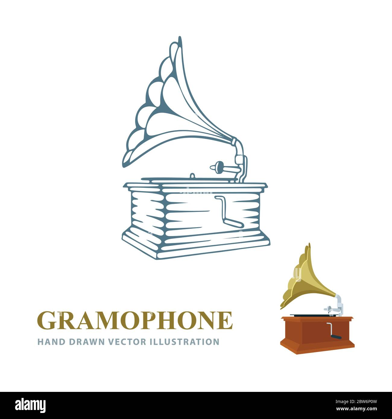 gramophone gramophone hand drawn and realistic vector illustrations old gramophone side view sketch drawing retro music concept part of set stock vector image art alamy alamy