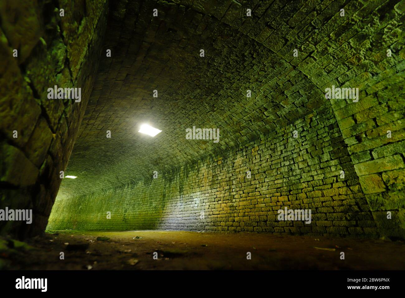Parlington Tunnel , also known as 'The Dark Arch' is located along The Fly Line in Parlington Woods,Aberford,Leeds. Stock Photo