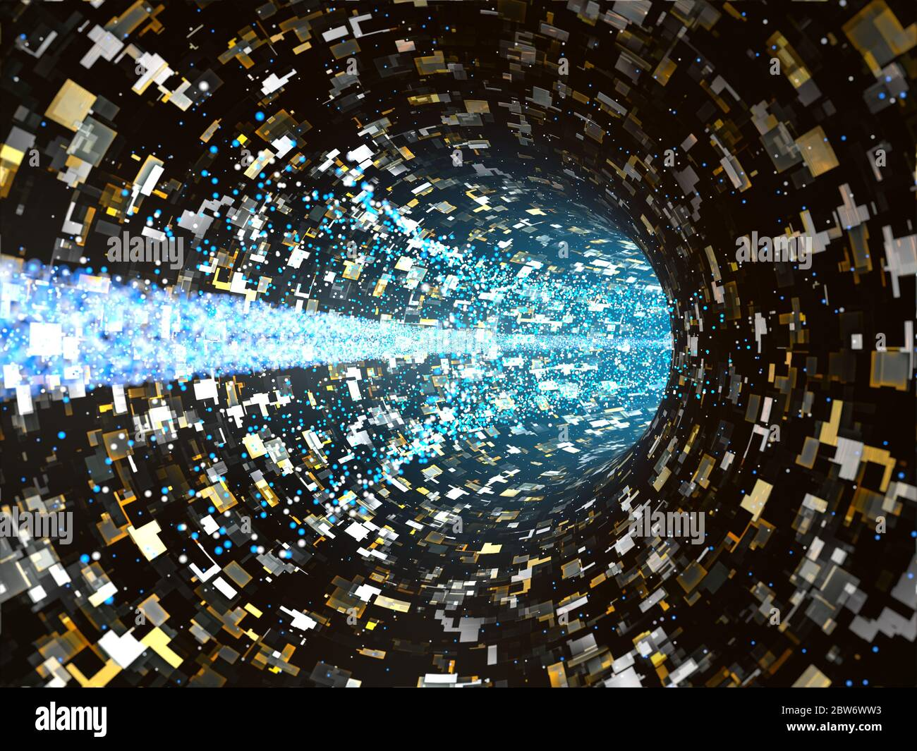 Futuristic computer transmission inside a virtual network, made of small colored squared cells and moving particles Stock Photo