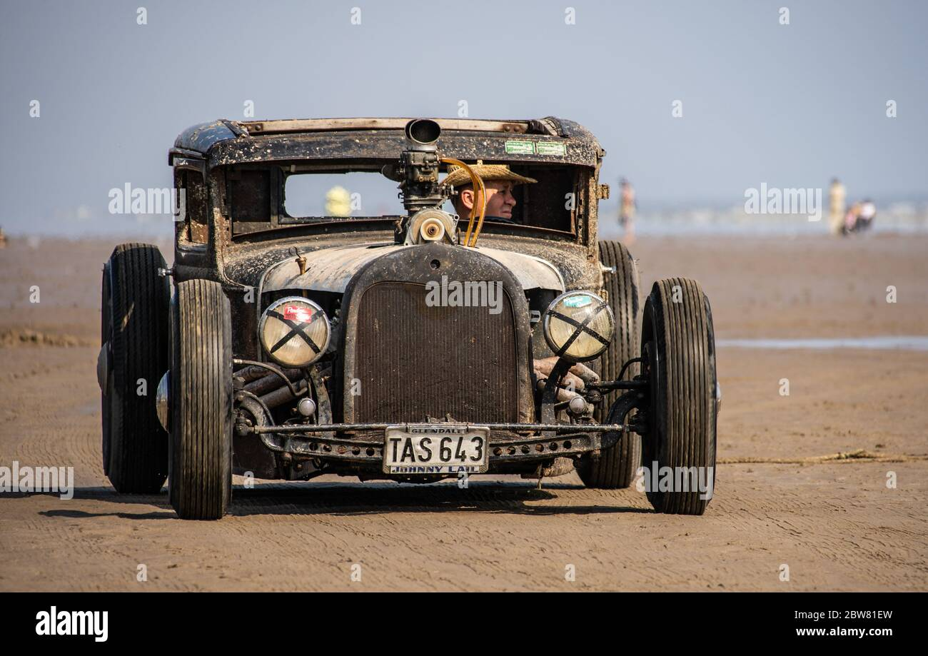 Pre 1949 American hot rods. Vintage Hot Rod Racing at Pendine Sands Wales UK Event held by VHRA 2016 Stock Photo