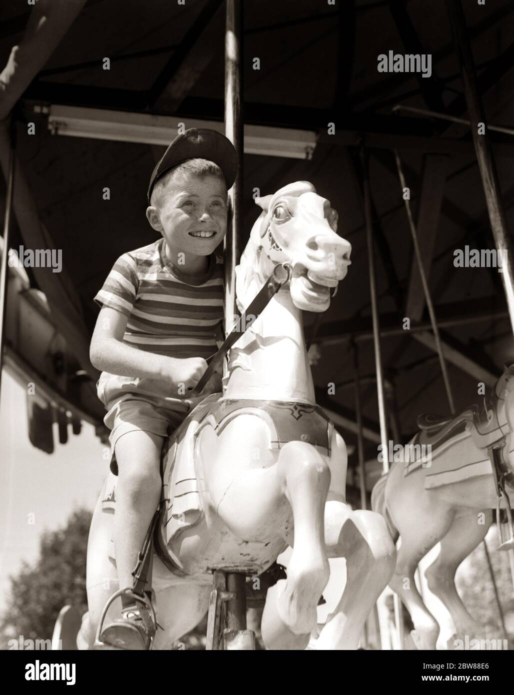 Vintage Carousel Merry Go Round Black Horse High Resolution Stock Photography And Images Alamy