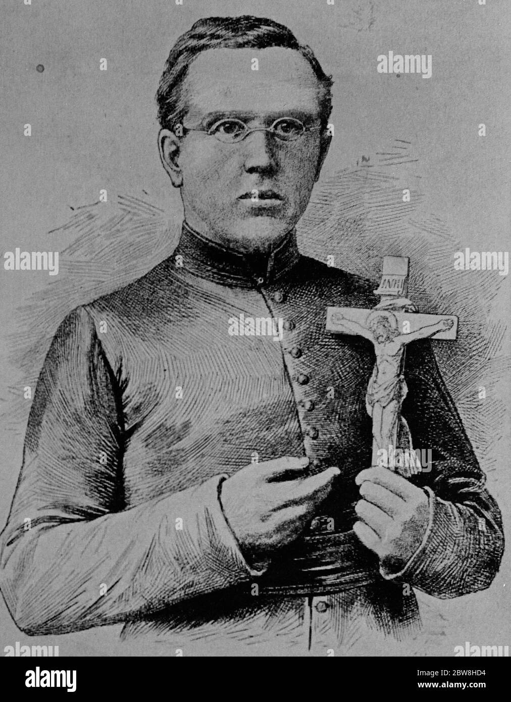 Gave his life for the lepers . Father Damien , the apostle of the lepers , of Molokai , who himself finally contracted and died of leprosy . 18 August 1932 Stock Photo