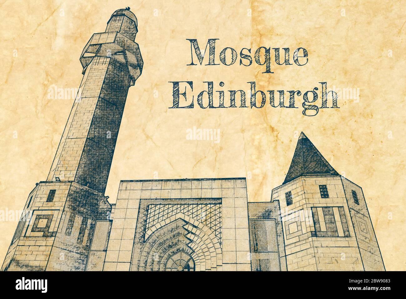 Edinburgh Central Mosque, Scotland, sketch on old paper Stock Photo