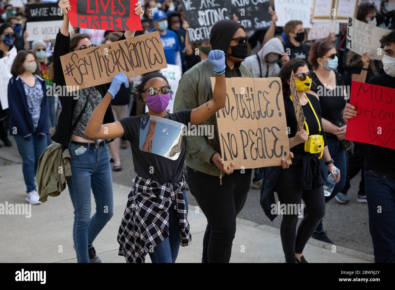 Grand Rapids, Michigan, May 30, 2020: Thousands gathered in downtown Grand Rapids to protest police brutality and the death of George Floyd. Stock Photo