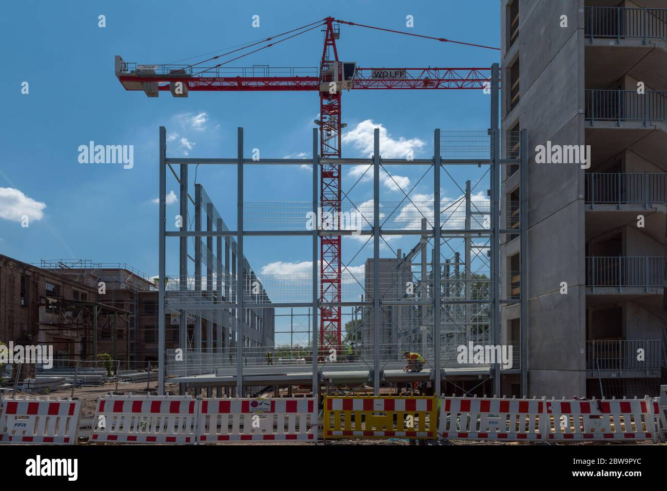 Construction site of a multi-storey car park on a former factory site, Hattersheim, Hesse, Germany Stock Photo