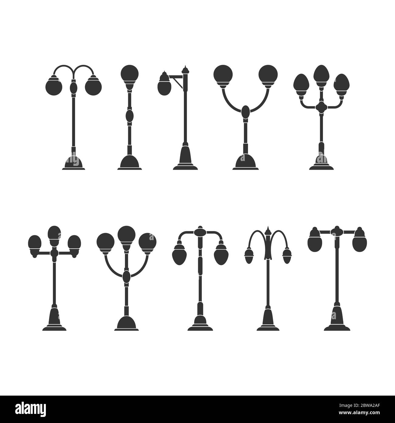 set of lighting lights. Vector illustration for theme design. Isolated on a white background. Simple design. Stock Vector