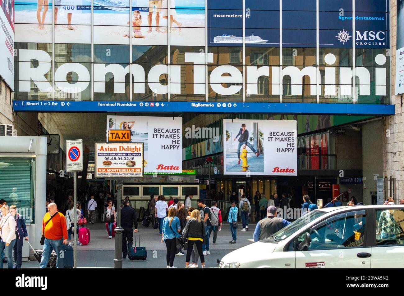 Rome / Italy - May 1, 2015: Entrance to Roma Termini, main railway station in Rome, Italy Stock Photo