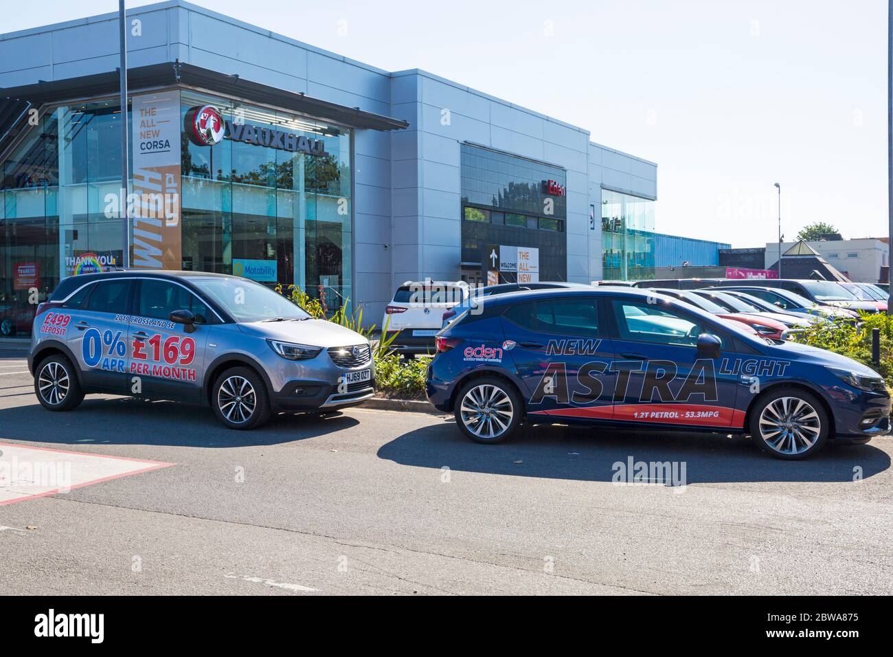 Poole, Dorset UK. 31st May 2020. Car dealers showrooms can reopen in England tomorrow, 1st June, if COVID safe, following the Governments easing of Coronavirus restrictions to kickstart the economy.  Eden Vauxhall at Branksome, Poole. Credit: Carolyn Jenkins/Alamy Live News Stock Photo