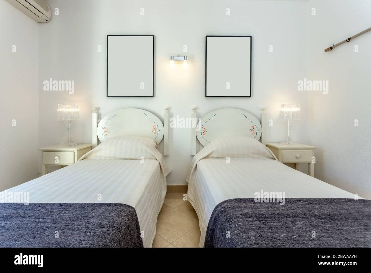 Modern Bedroom With Two Single Beds European Hotel Design Stock Photo Alamy