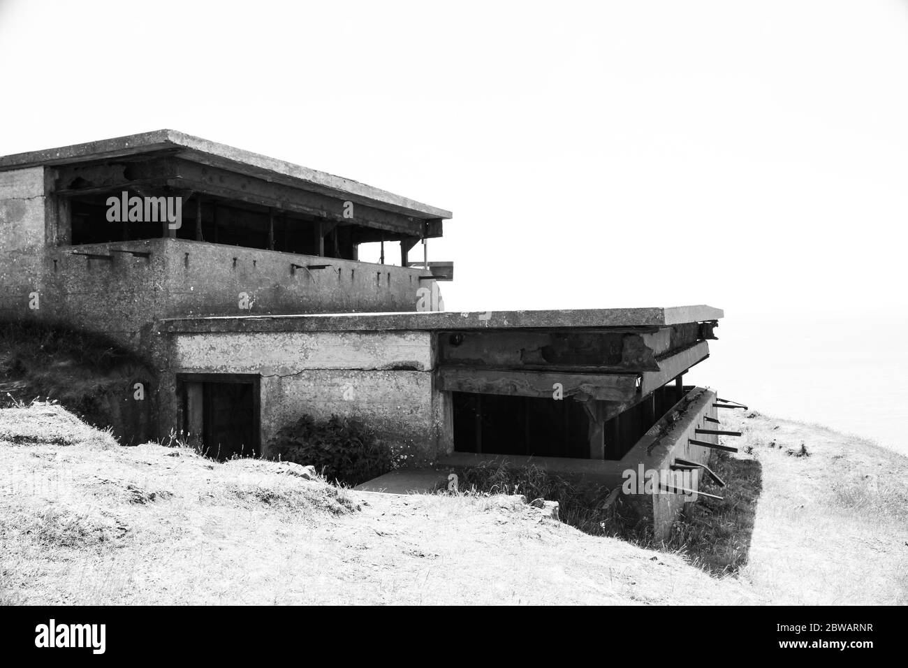 Brean, Burnham-on-Sea, Somerset / UK - May 30, 2020: Remaining of the WWII Second World War gunnery observation post at Brean Down fort near Weston su Stock Photo