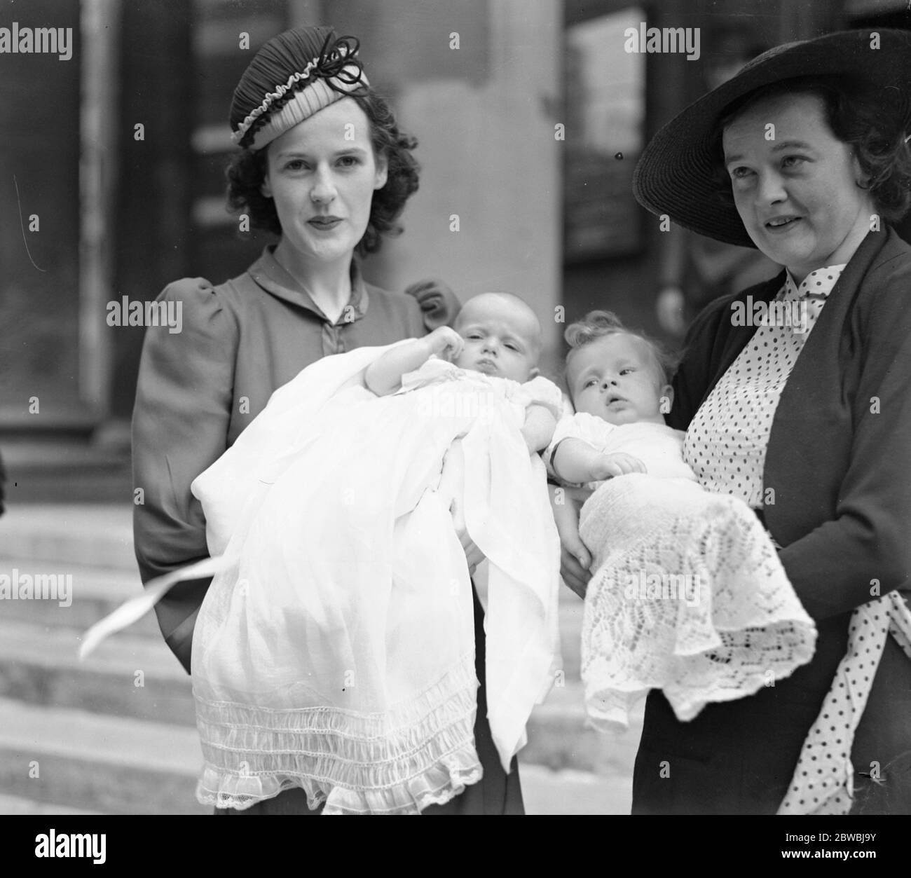 A double christening at All Souls Church , Langham Place , London . The Countess of Craven ( left ) , the former Miss Irene Meyrick , with her baby daughter , Lady Sarah Jane Craven and her sister , Mrs J Dearman with her son , Glyn John . 4 July 1940 Stock Photo