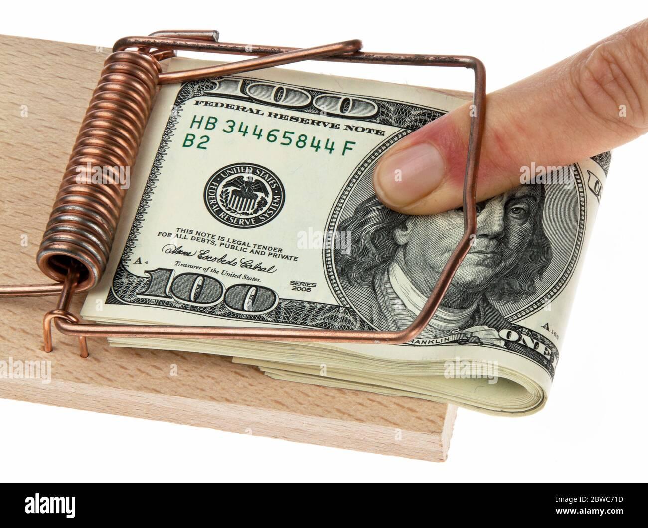 Mausefalle mit >US-Dollars, Symbol für Schuldenfalle, Waehrungsrisiko, Stock Photo
