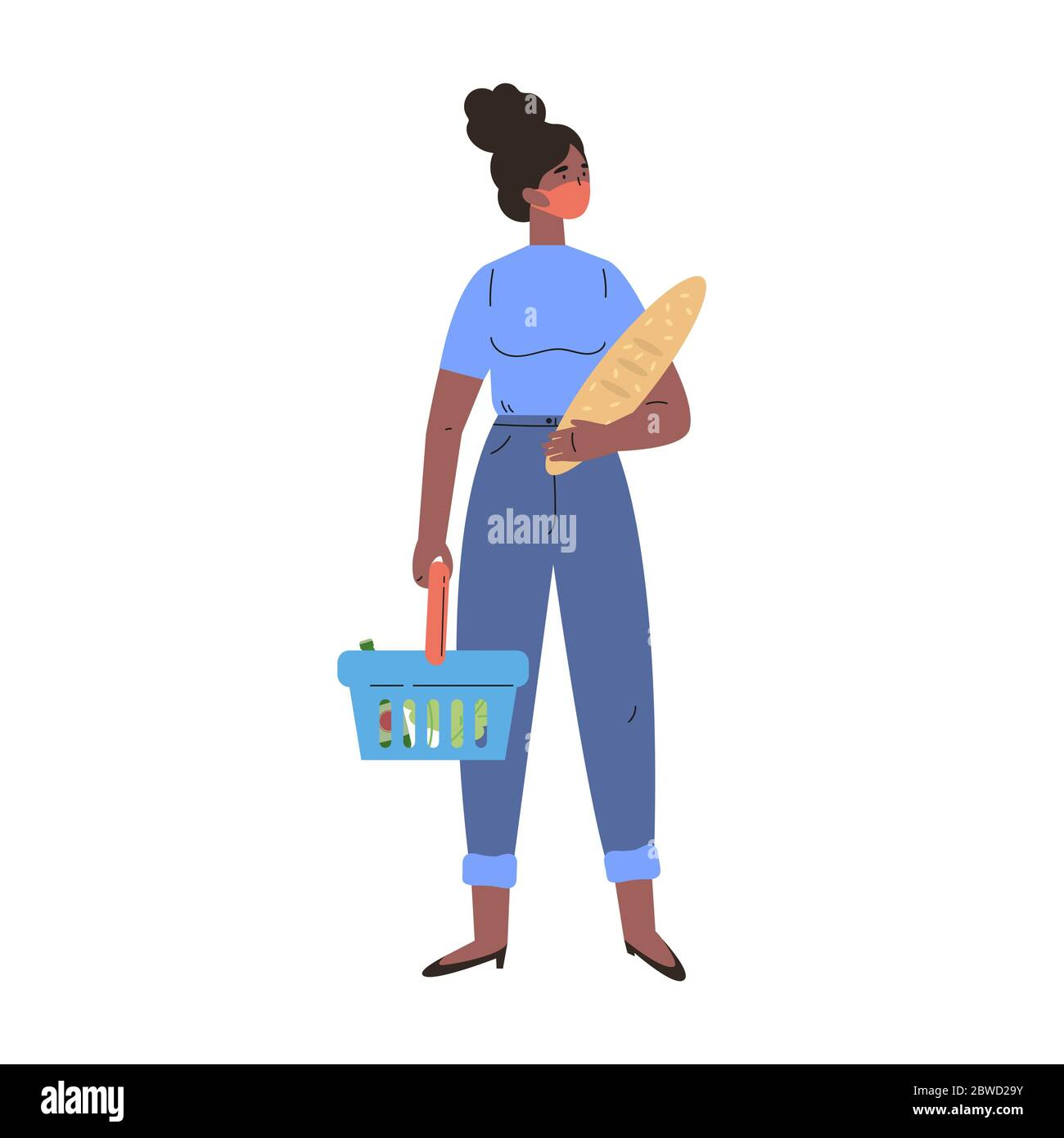African American woman shopping in a mask  Stock Vector