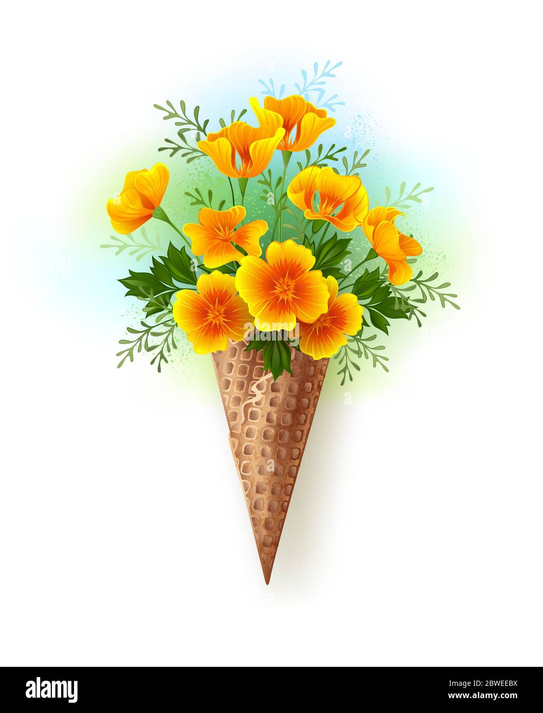 Artistically painted waffle cone with small bouquet of orange, California poppy on white background, painted with blue and green paint. Stock Vector
