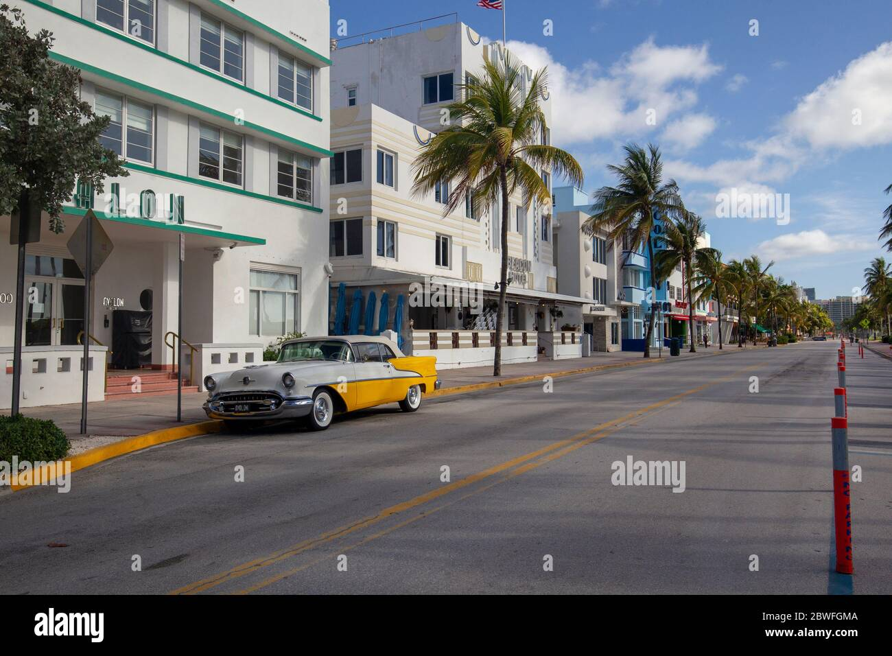A deserted Ocean Drive, South Beach, Miami Florida. The street is closed to traffic because of the Coronavirus. Stock Photo