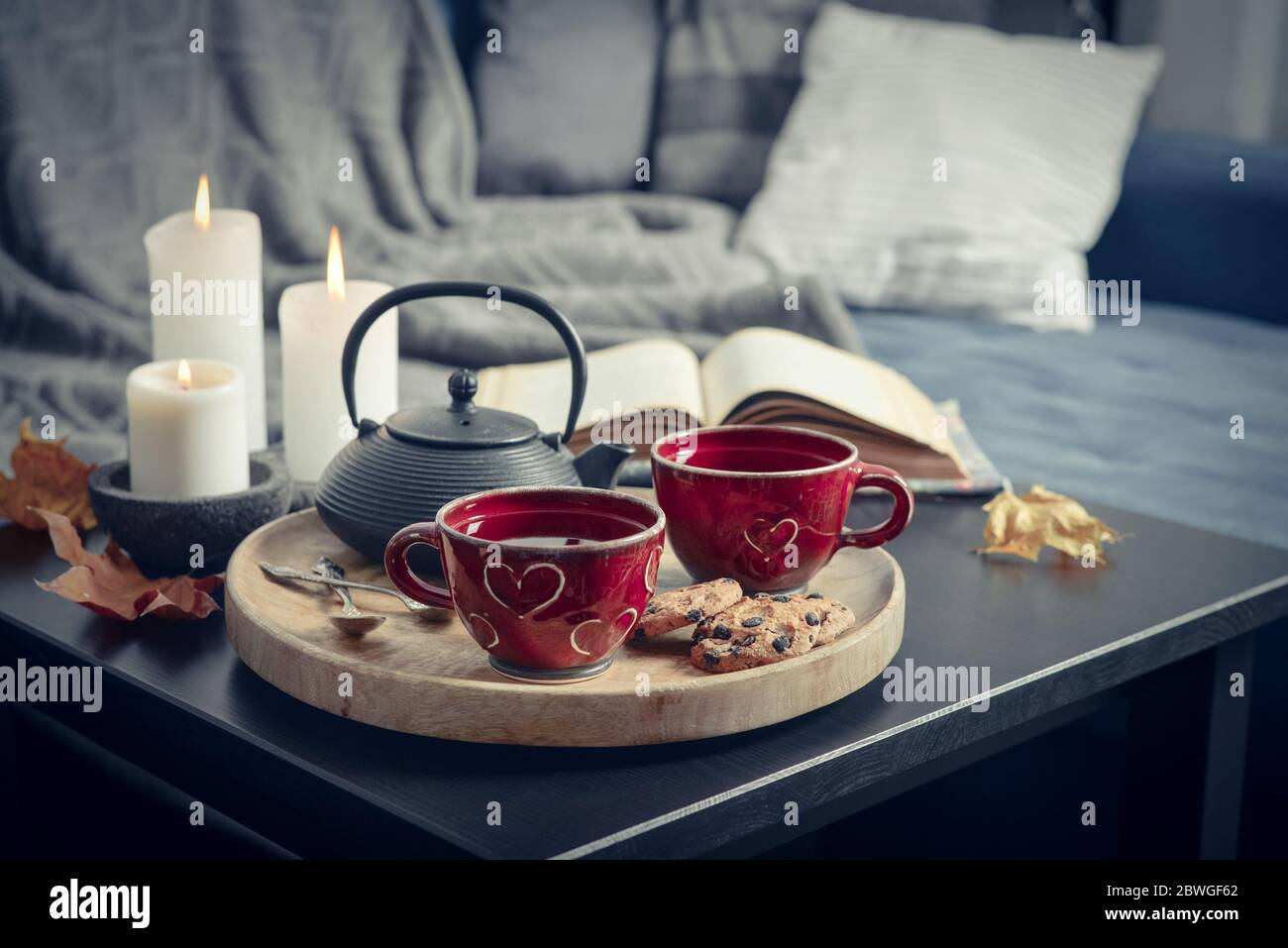 Two Cups Of Tea On A Serving Tray On Coffee Table Breakfast Over Sofa In Morning Sunlight Cozy Autumn Or Winter Concept Stock Photo Alamy