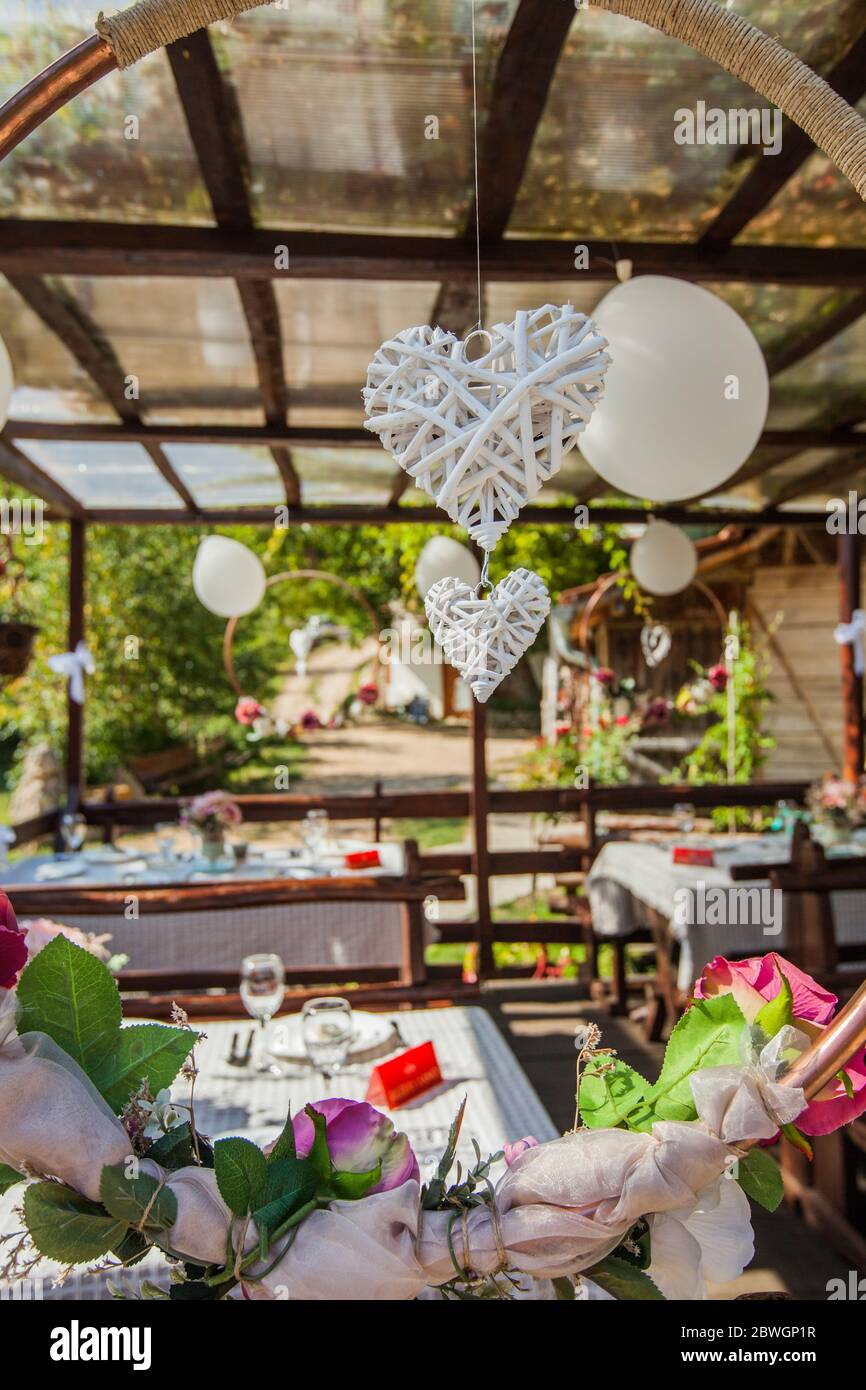 Rustic Style Wedding Setting Decoration At Summer Terrace Restaurant In Countryside Stock Photo Alamy