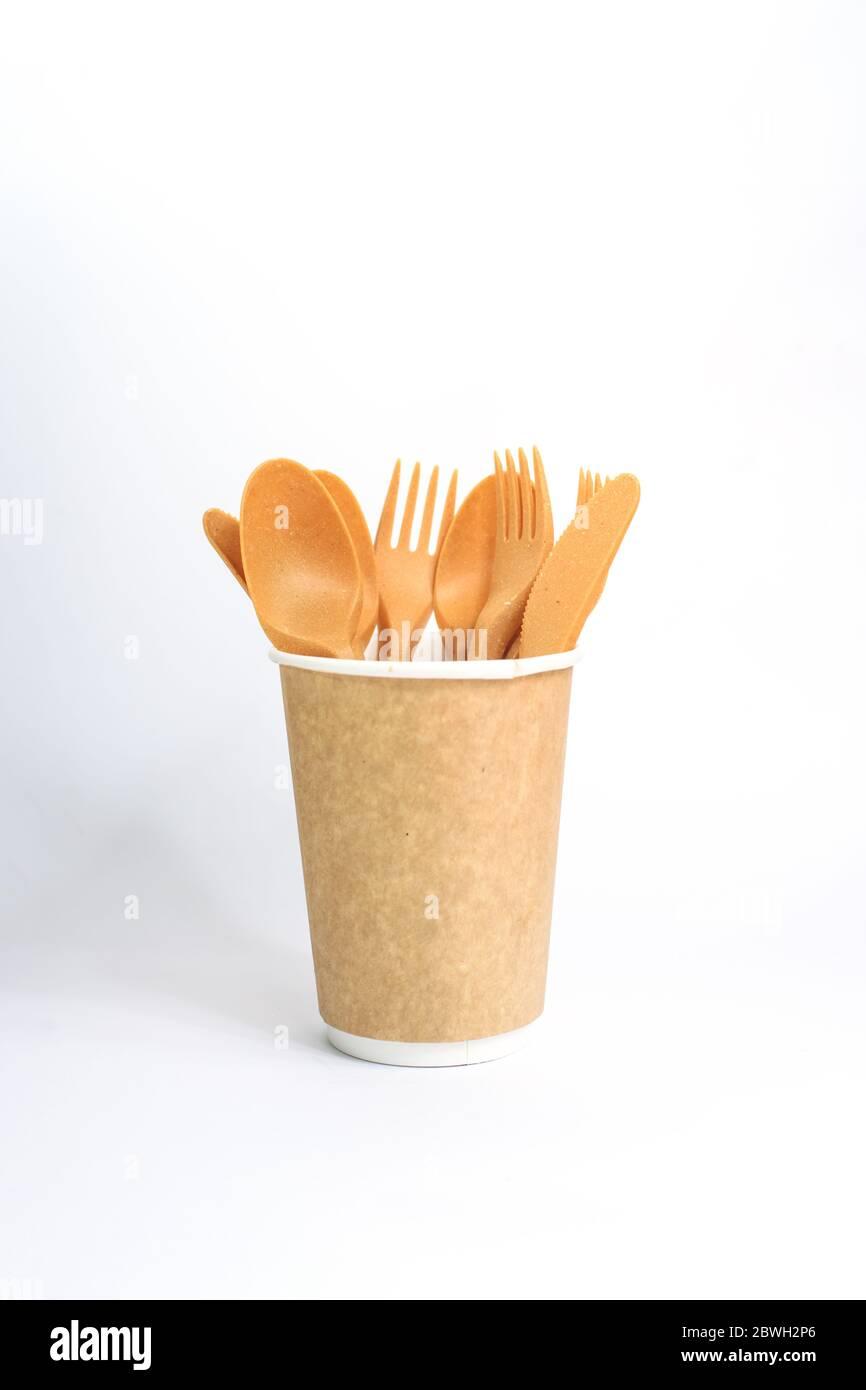 Eco friendly kitchenware on the white background. Zero waste, plastic free concept. Sustainable lifestyle. Flat lay, top view. Stock Photo