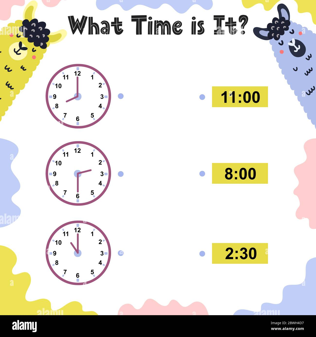 What time is it activity page for kids with clock Stock Vector ...