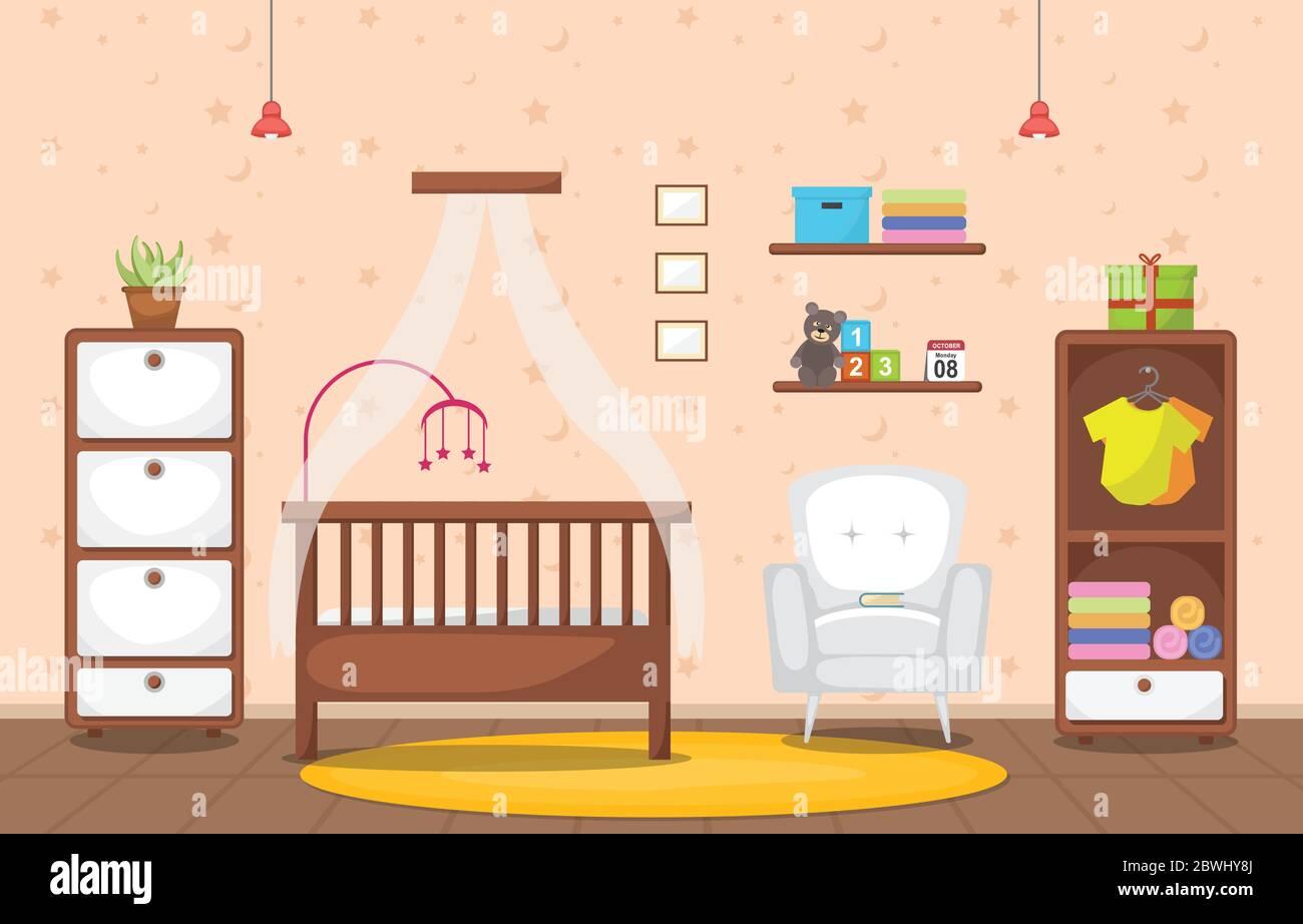 Baby Toddler Children Bedroom Interior Room Furniture Flat Design Stock Vector Image Art Alamy