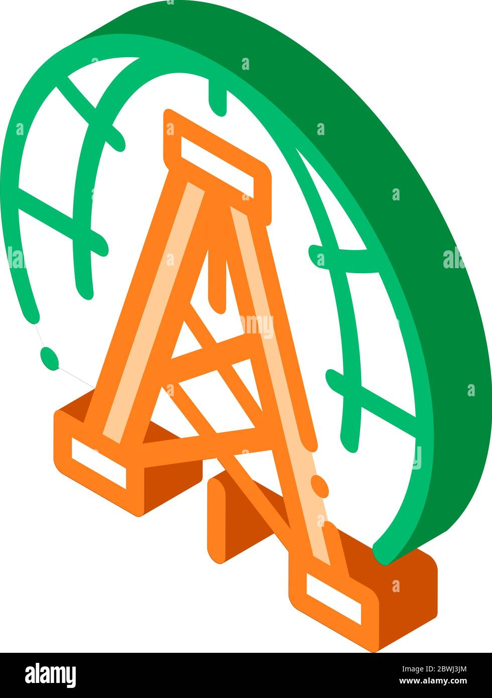 Oil-Derrick Planet Problem isometric icon vector illustration Stock Vector