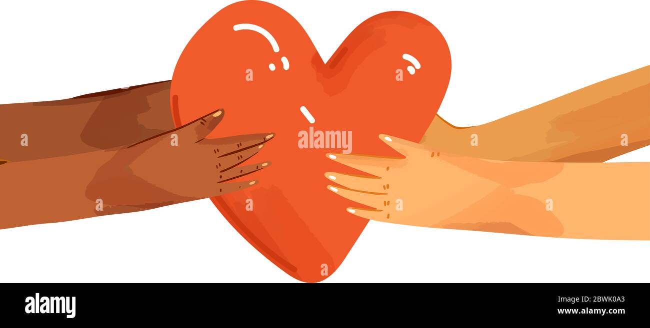 Vector flat illustration of diverse people sharing love, support, appreciation to each other. Hands giving heart, and hands taking heart as a sign of Stock Vector