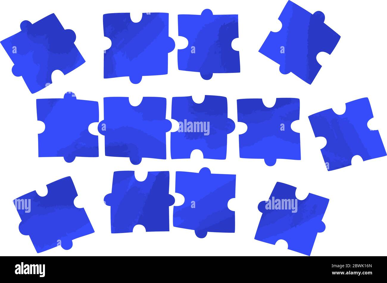 Vector flat illustration of several piece of puzzles, scattering on white space. Solving problem, jigsaw concept - teamwork for business success Stock Vector