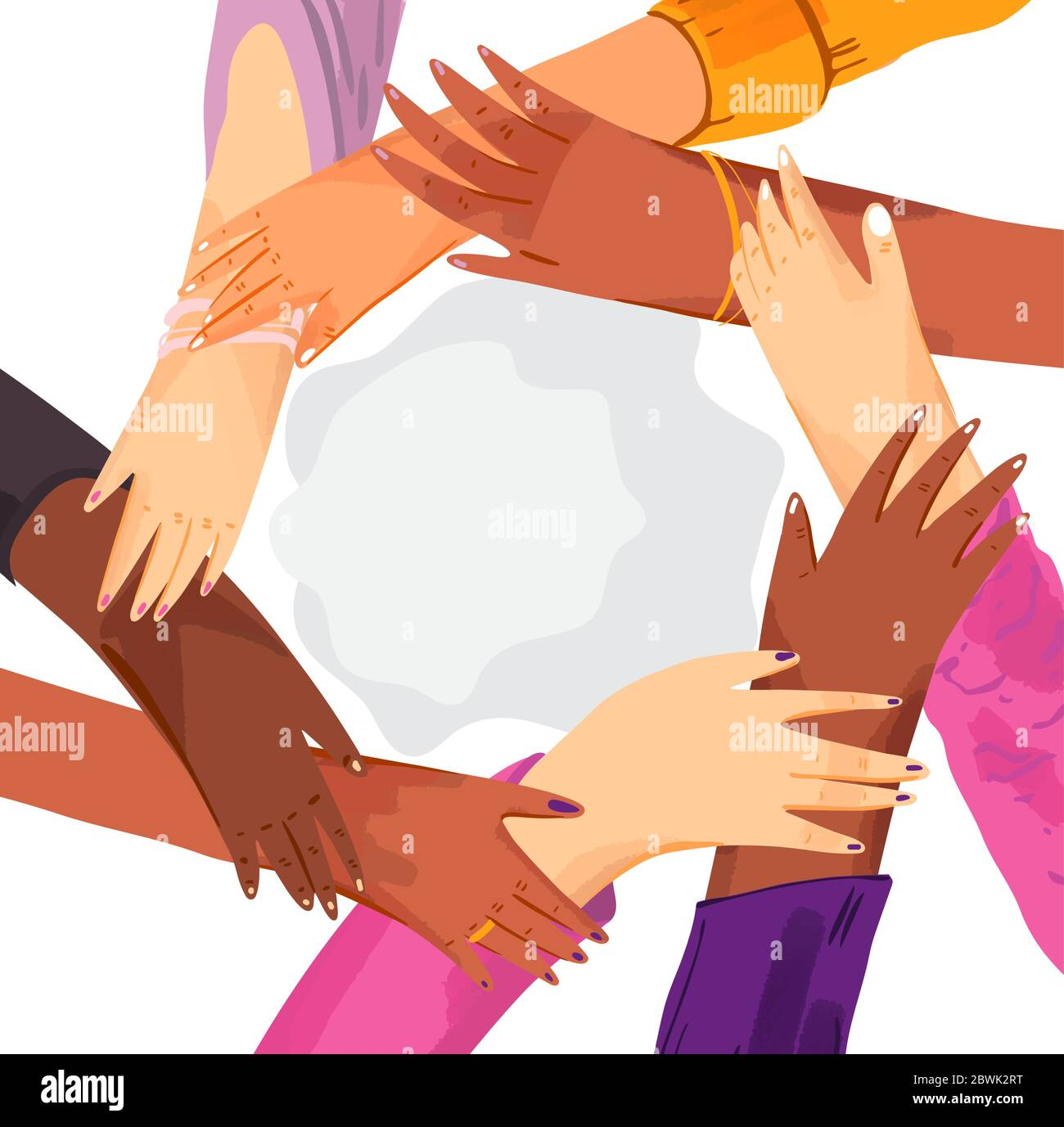 Hands of diverse group of women putting together in circle. Concept of sisterhood, girl power, feminist community or movement, friendship, support and Stock Vector