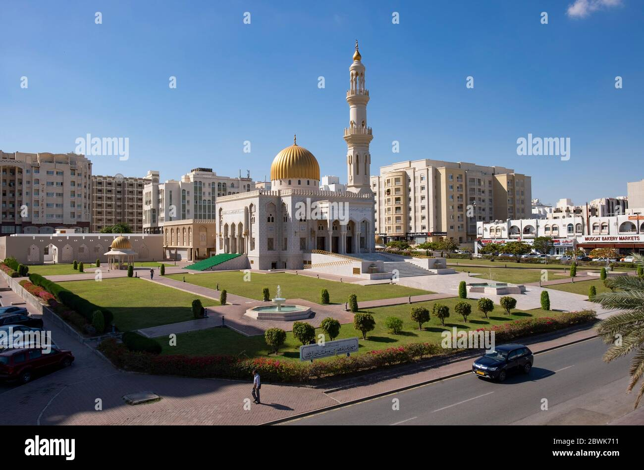 Elevated view of the Masjid Al Zawawi Mosque,Muscat, Sultanate of Oman. Stock Photo